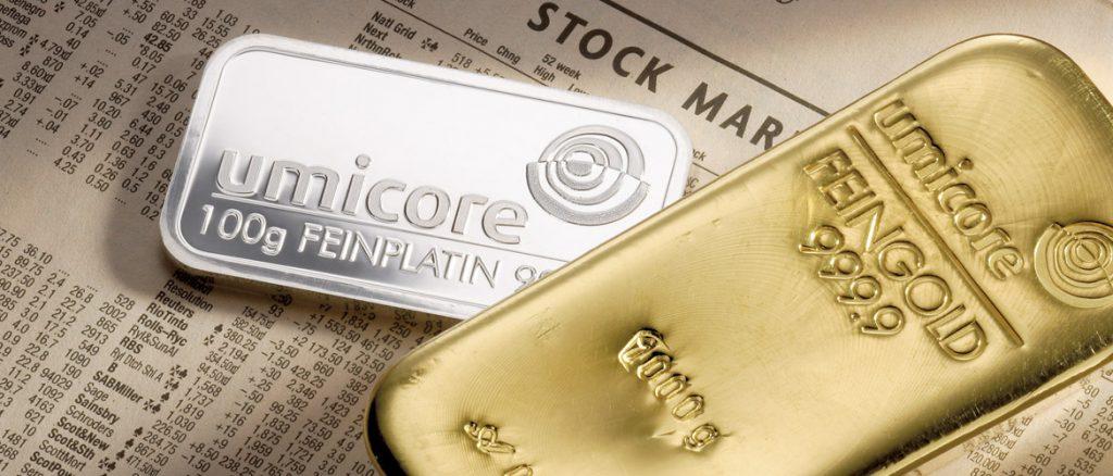 Edele metalen goud, platina en palladium