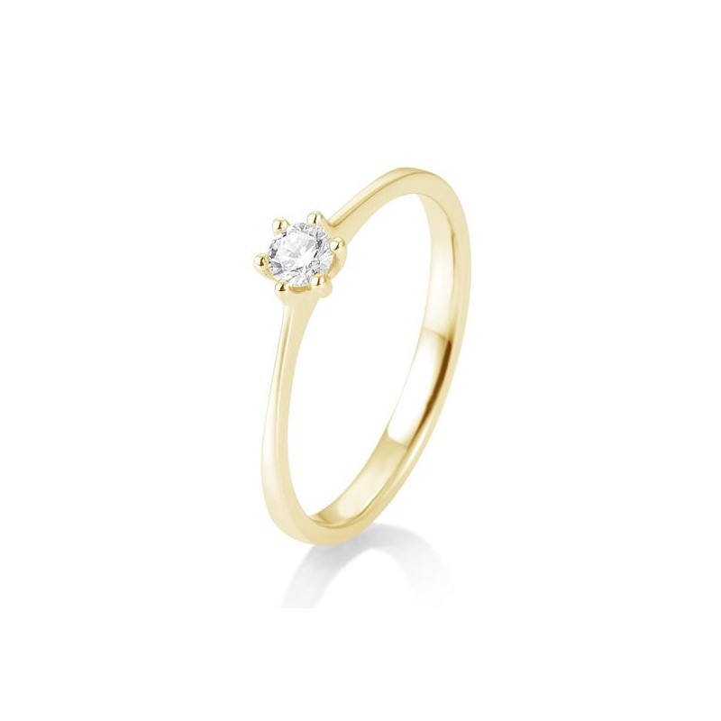 geelgouden solitairring incl. 1x0.15 ct. briljant
